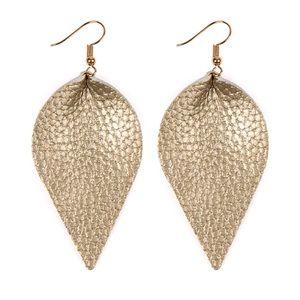 Gold leather teardrop earrings